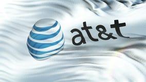 AT&T flaga falowanie na słońcu Bezszwowa pętla z wysoce szczegółową tkaniny teksturą royalty ilustracja
