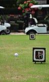 T fuori con il carretto di golf sul campo da golf immagini stock libere da diritti
