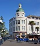 T&G Building Art Deco Napier New Zealand & Vintage Car stock photos