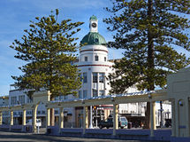 T&G de bouw van de Bomen van Art Deco Napier New Zealand & van de Pijnboom Stock Foto