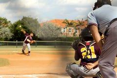 tła graczów baseballi sylwetki biel Zdjęcie Stock