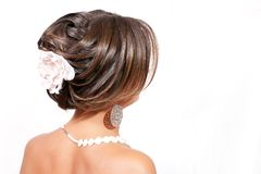 tła hairdress portreta biel Fotografia Stock