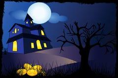 tła Halloween domowy drzewo Obraz Stock