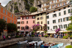 T he harbor and promenade of Limone, Lake Garda, Italy Royalty Free Stock Images