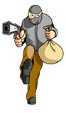 T?hief. Thief with gun and moneys Royalty Free Stock Image