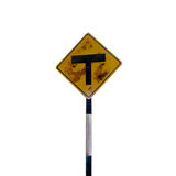 T intersection ahead sign Stock Image