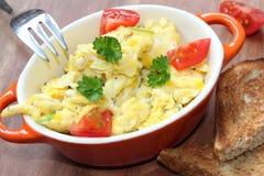 tła jajek omletu rozdrapany biel Obraz Stock