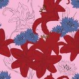 tła jaskrawy kwiatów leluje bezszwowe Obraz Stock