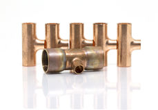 T-joint connection pipe of Air-conditioner or Refrigerant system Royalty Free Stock Images