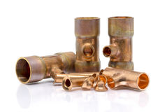 T-joint connection pipe of Air-conditioner or Refrigerant system Stock Photo