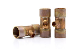 T-joint connection pipe of Air-conditioner or Refrigerant system Stock Photos