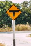 T junction road traffic sign Royalty Free Stock Image