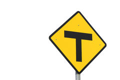 T Junction Sign. Isolated on white background Royalty Free Stock Photos