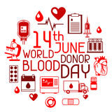 14t June world blood donor day. Background with blood donation items. Medical and health care objects.  Stock Images