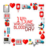 14t June world blood donor day. Background with blood donation items. Medical and health care objects.  Stock Image