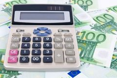 tła kalkulatora euro Obrazy Royalty Free