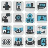tła komunikaci biznesowej konceptualnej ilustraci odosobniony biel Wideokonferencja zdjęcie stock