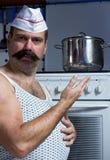 tła kucharza odosobniony kuchenny biel Obraz Stock