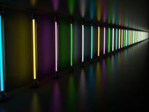 T.L.-buizen die van de verlichtings de lichte lamp in donkere ruimte gloeien 3d Stock Illustratie