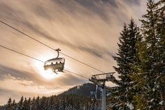 T?l?si?ge de ski, 8 si?ges Hochwurzen I dans Planai et Hochwurzen - coeur de ski de la r?gion de Schladming-Dachstein, Styrie, Au photos stock