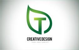 T Leaf Logo Letter Design with Green Leaf Outline Royalty Free Stock Photo