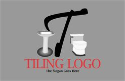 T letter bathroom logo. A logo with a toilet seat and a bathroom sink that also uses letter T which is customizable. It can be used for small businesses that Stock Photos