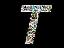 T letter - collage of travel photos Royalty Free Stock Photography