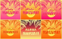 T menchii i pomarańcze druków koszulowa różnica z kokosowej palmy liśćmi, Aloha Hawaje literowanie, seagull i koloru żółtego słoń ilustracja wektor