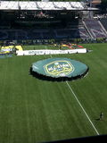 AT&T MLS All-Star sign on field of Providence Park. The AT&T MLS All STAR sign on the field of Providence Park before the 2014 MLS All-Star game royalty free stock photography