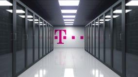 T-Mobile logo na ścianie serweru pokój Redakcyjny 3D rendering royalty ilustracja