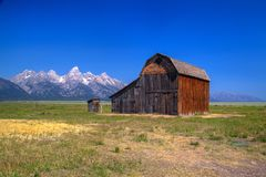 The T. A. Moulton Barn is a historic barn in Wyoming, United Sta. The T. A. Moulton Barn is a historic barn in within the Mormon Row Historic District in Teton royalty free stock image