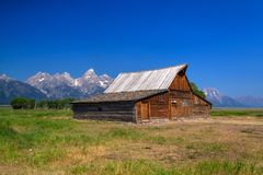 The T. A. Moulton Barn is a historic barn in Wyoming, United Sta. The T. A. Moulton Barn is a historic barn in within the Mormon Row Historic District in Teton royalty free stock photos