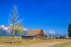 The T. A. Moulton Barn is a historic barn in Wyoming, United Sta. The T. A. Moulton Barn is a historic barn in within the Mormon Row Historic District in Teton stock photography
