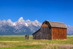 The T. A. Moulton Barn is a historic barn in Wyoming, United Sta. The T. A. Moulton Barn is a historic barn in within the Mormon Row Historic District in Teton royalty free stock images