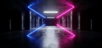 T?nel concreto escuro moderno de incandesc?ncia azul de Asphalt Futuristic Spaceship Underground Garage do cimento de Sci Fi do r ilustração do vetor