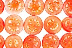 Tła nieznacznie pokrojony pomidor Zdjęcie Stock