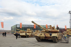 T-90. NIZHNY TAGIL, RUSSIA - SEP 26, 2013: The international exhibition of armament, military equipment and ammunition RUSSIA ARMS EXPO (RAE-2013). The T-90 Stock Photography