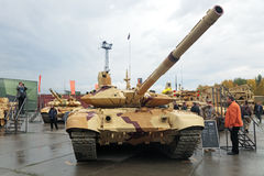 T-90. NIZHNY TAGIL, RUSSIA - SEP 26, 2013: The international exhibition of armament, military equipment and ammunition RUSSIA ARMS EXPO (RAE-2013). The T-90 Stock Images