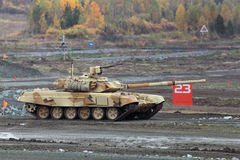 T-72. NIZHNY TAGIL, RUSSIA - SEP 27, 2013: The international exhibition of armament, military equipment and ammunition RUSSIA ARMS EXPO (RAE-2013). The T-72 is a royalty free stock images
