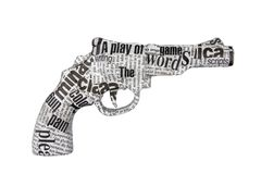 tło biel gazetowy pistoletowy Obrazy Royalty Free