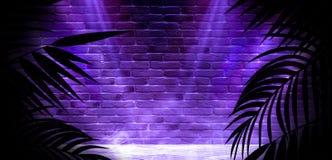 T?o ciemny pok?j, tunel, korytarz, neonowy ?wiat?o, lampy, tropikalni li?cie zdjęcia royalty free