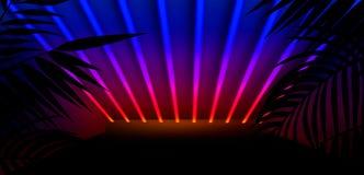 T?o ciemny pok?j, tunel, korytarz, neonowy ?wiat?o, lampy, tropikalni li?cie obraz stock
