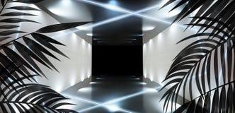 T?o ciemny pok?j, tunel, korytarz, neonowy ?wiat?o, lampy, tropikalni li?cie fotografia stock