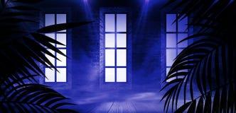 T?o ciemny pok?j, tunel, korytarz, neonowy ?wiat?o, lampy, tropikalni li?cie obraz royalty free