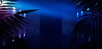T?o ciemny pok?j, tunel, korytarz, neonowy ?wiat?o, lampy, tropikalni li?cie obrazy stock