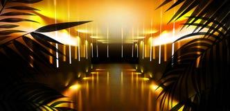 T?o ciemny pok?j, tunel, korytarz, neonowy ?wiat?o, lampy, tropikalni li?cie zdjęcie royalty free