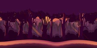 Tło dla gier apps lub mobilnego rozwoju Kreskówki natury krajobraz z lasem Zdjęcie Stock