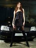 tło dziewczyna czarny samochodowa Obrazy Stock