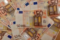 Tło euro rachunki Zdjęcia Royalty Free