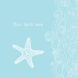 Tło fala i rozgwiazda, morski wzór Ocean tekstura Zdjęcie Royalty Free